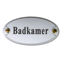 Deurbordje emaille 'Badkamer' ovaal