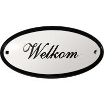 Deurbordje ovaal  'Welkom', emaille