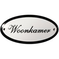 Deurbordje ovaal  'Woonkamer', emaille