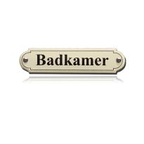 Emaille deurbordje 'Badkamer' gebold klassiek, 115x27mm