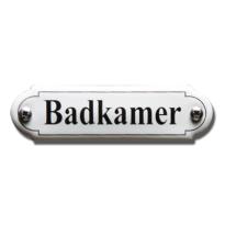 Emaille deurbordje 'Badkamer' gebold klassiek, 80x22mm