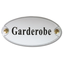 Emaille deurbordje 'Garderobe' ovaal