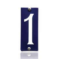 Emaille huisnummer 1 blauw, 40 x 100 mm