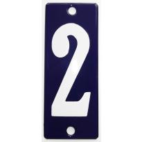 Emaille huisnummer '2' kobalt blauw, 100x40 mm