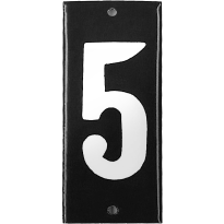 Emaille huisnummer '5' zwart, 100x40 mm