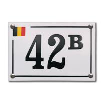 Emaille huisnummer 'Baarle Hertog' wit, 150 x 100 mm