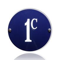 Emaille huisnummer blauw, 100 mm