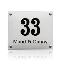Emaille huisnummer met naam wit, 190 x 160 mm