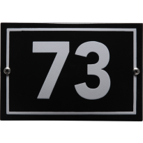 Emaille huisnummer 'Phil' zwart, 160 x 110 mm