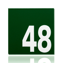 Emaille huisnummer Robina groen, 160 x 160 mm