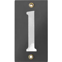 Emaille industrieel grijs huisnummerbord '1' met witte cijfers, 100x40 mm