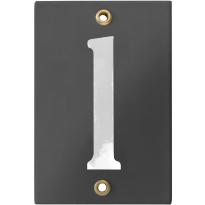 Emaille industrieel grijs huisnummerbord '1' met witte cijfers, 120x80 mm