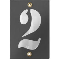 Emaille industrieel grijs huisnummerbord '2' met witte cijfers, 120x80 mm