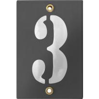 Emaille industrieel grijs huisnummerbord '3' met witte cijfers, 120x80 mm