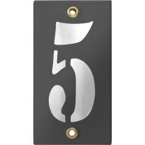 Emaille industrieel grijs huisnummerbord '5' met witte cijfers, 100x40 mm
