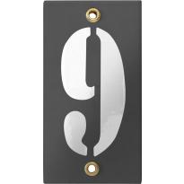 Emaille industrieel grijs huisnummerbord '9' met witte cijfers, 100x40 mm