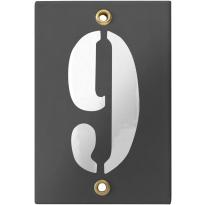 Emaille industrieel grijs huisnummerbord '9' met witte cijfers, 120x80 mm