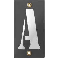 Emaille industrieel grijs huisnummerbord met witte letter 'A', 100x40 mm