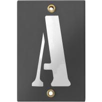 Emaille industrieel grijs huisnummerbord met witte letter 'A', 120x80 mm