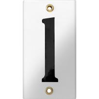 Emaille industrieel wit huisnummerbord '1' met zwarte cijfers, 100x40 mm