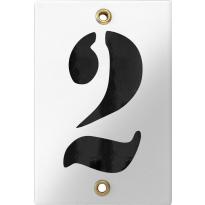 Emaille industrieel wit huisnummerbord '2' met zwarte cijfers, 120x80 mm