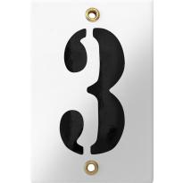 Emaille industrieel wit huisnummerbord '3' met zwarte cijfers, 120x80 mm