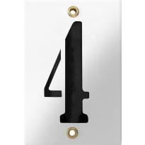 Emaille industrieel wit huisnummerbord '4' met zwarte cijfers, 120x80 mm
