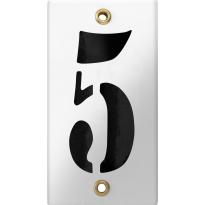 Emaille industrieel wit huisnummerbord '5' met zwarte cijfers, 100x40 mm