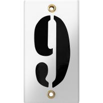 Emaille industrieel wit huisnummerbord '9' met zwarte cijfers, 100x40 mm