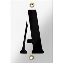 Emaille industrieel wit huisnummerbord met zwarte letter 'A', 120x80 mm