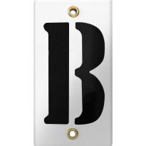 Emaille industrieel wit huisnummerbord met zwarte letter 'B', 100x40 mm