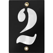 Emaille industrieel zwart huisnummerbord '2' met witte cijfers, 120x80 mm