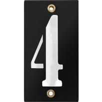 Emaille industrieel zwart huisnummerbord '4' met witte cijfers, 100x40 mm