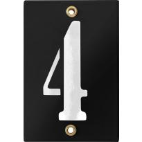 Emaille industrieel zwart huisnummerbord '4' met witte cijfers, 120x80 mm