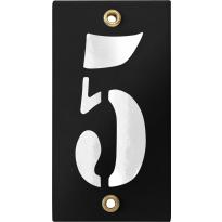 Emaille industrieel zwart huisnummerbord '5' met witte cijfers, 100x40 mm