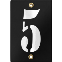Emaille industrieel zwart huisnummerbord '5' met witte cijfers, 120x80 mm