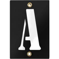 Emaille industrieel zwart huisnummerbord met witte letter 'A', 120x80 mm