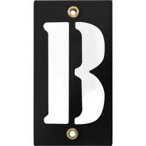 Emaille industrieel zwart huisnummerbord met witte letter 'B', 100x40 mm