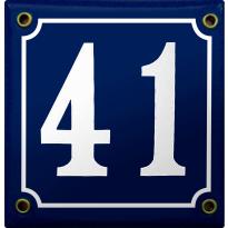 Emaille kobalt blauw huisnummerbord met witte cijfers, 100x100 mm