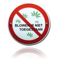 Emaille verbodsbord 'Blowen is niet toegestaan' rond