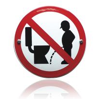 Emaille verbodsbord 'Niet naast de pot plassen' rond