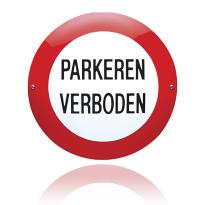 Emaille verbodsbord 'Parkeren verboden' rond