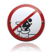 Emaille verbodsbord 'Verboden op de bril te staan' rond