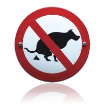 Emaille verbodsbord 'Verboden uw hond hier uit te laten' rond