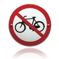 Emaille verbodsbord 'Verboden voor fietsers' rond