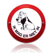 Emaille verbodsbord 'Verboden voor honden' rond