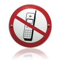 Emaille verbodsbord 'Verboden voor mobiele telefoons' rond