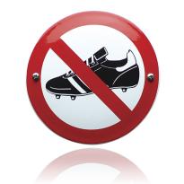 Emaille verbodsbord 'Verboden voor voetbalschoenen' rond