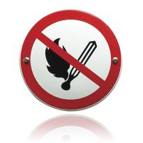 Emaille verbodsbord 'Verboden voor vuur' rond