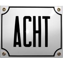 Emaille wit huisnummerbord 'ACHT' met zwarte letters, 150x180 mm
